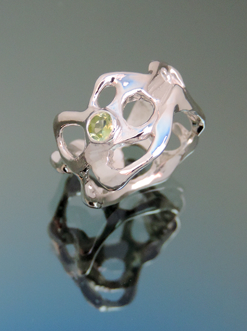 Peaceful Treasure Sterling & Peridot Cocktail Ring. Size 7