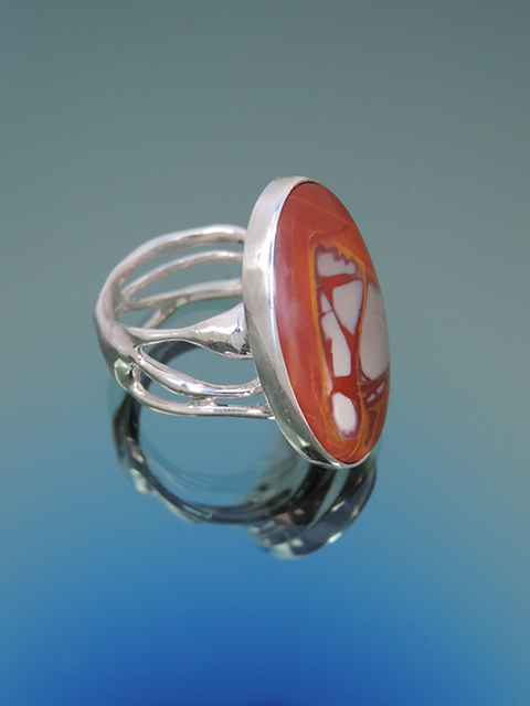 Dali Sterling Cocktail Ring with Noreena Jasper. Size 6