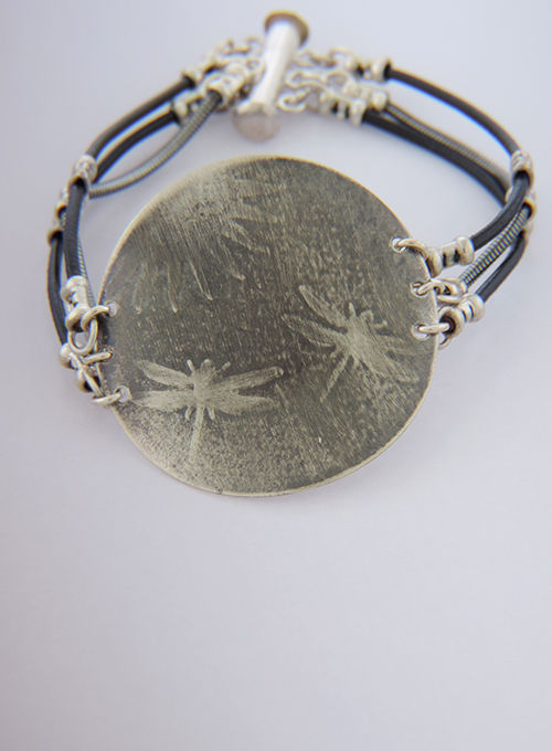 Cloudy Sky Sterling & Leather Aperitif Cocktail Bracelet