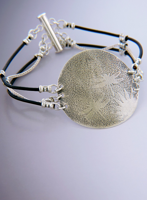 Dragonfly Sterling & Leather Aperitif Cocktail Bracelet