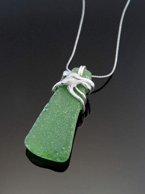 Serendipity Cocktail Necklace featuring Beach Glass & Sterling