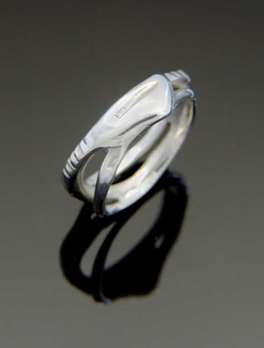 Skinny Vesper Sterling Silver Narrow Band Cocktail Ring. Size 6