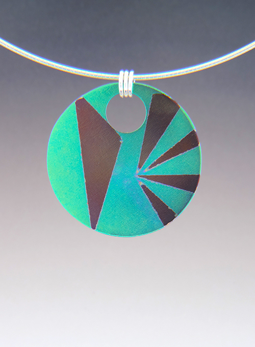 Spike Reversible Anodized Disk Necklace