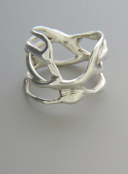 Ski Jump Sterling Silver Cocktail Ring. Size 8.5