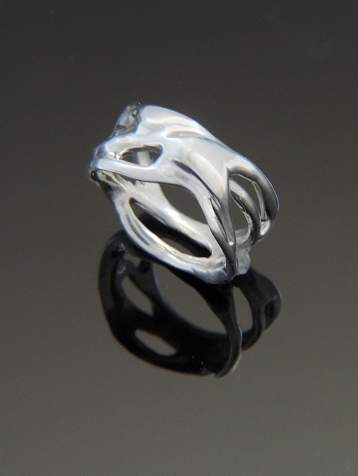 Creamy Kiss Sterling Silver Organic Cocktail Ring. Size 5.75
