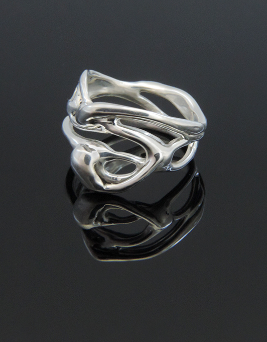 Snow Snake OOAK Sterling Silver Organic Ring Design. Size 8