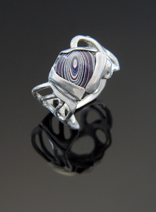 Traffic Light Sterling Silver Ring with Fordite. Size 9