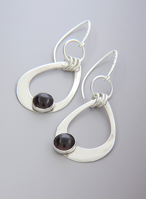 Garnet and Sterling Silver Cocktail Earrings