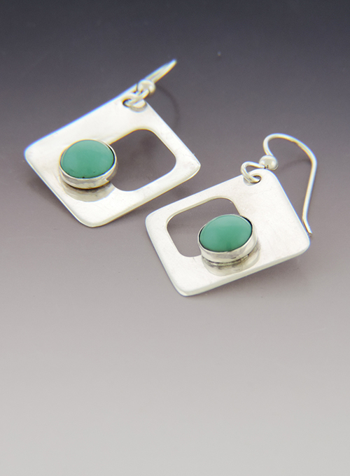 Dinner Mint Sterling Silver and Turquoise Earrings