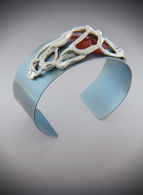 Mexican Berry Titanium, Sterling Silver & Mexican Fire Opal Cuff