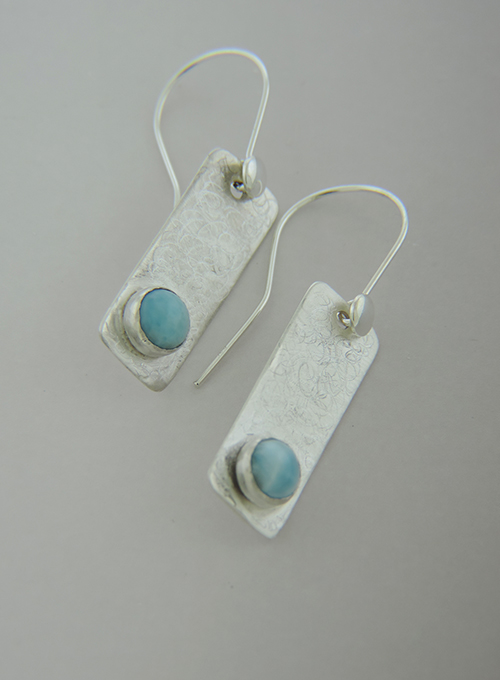 Low Tide Fine Silver with Larimar Earrings